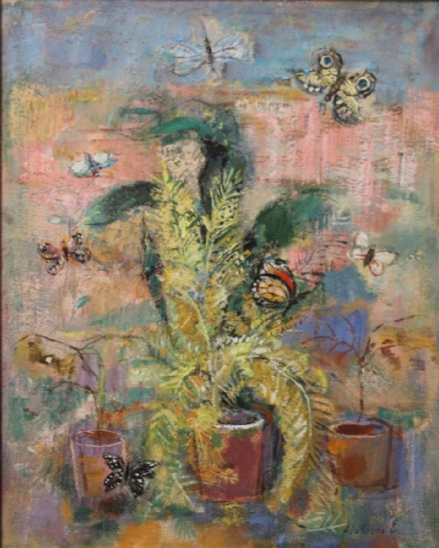 "E Mationi Hungarian, Oil on Board ""Butterflies"""