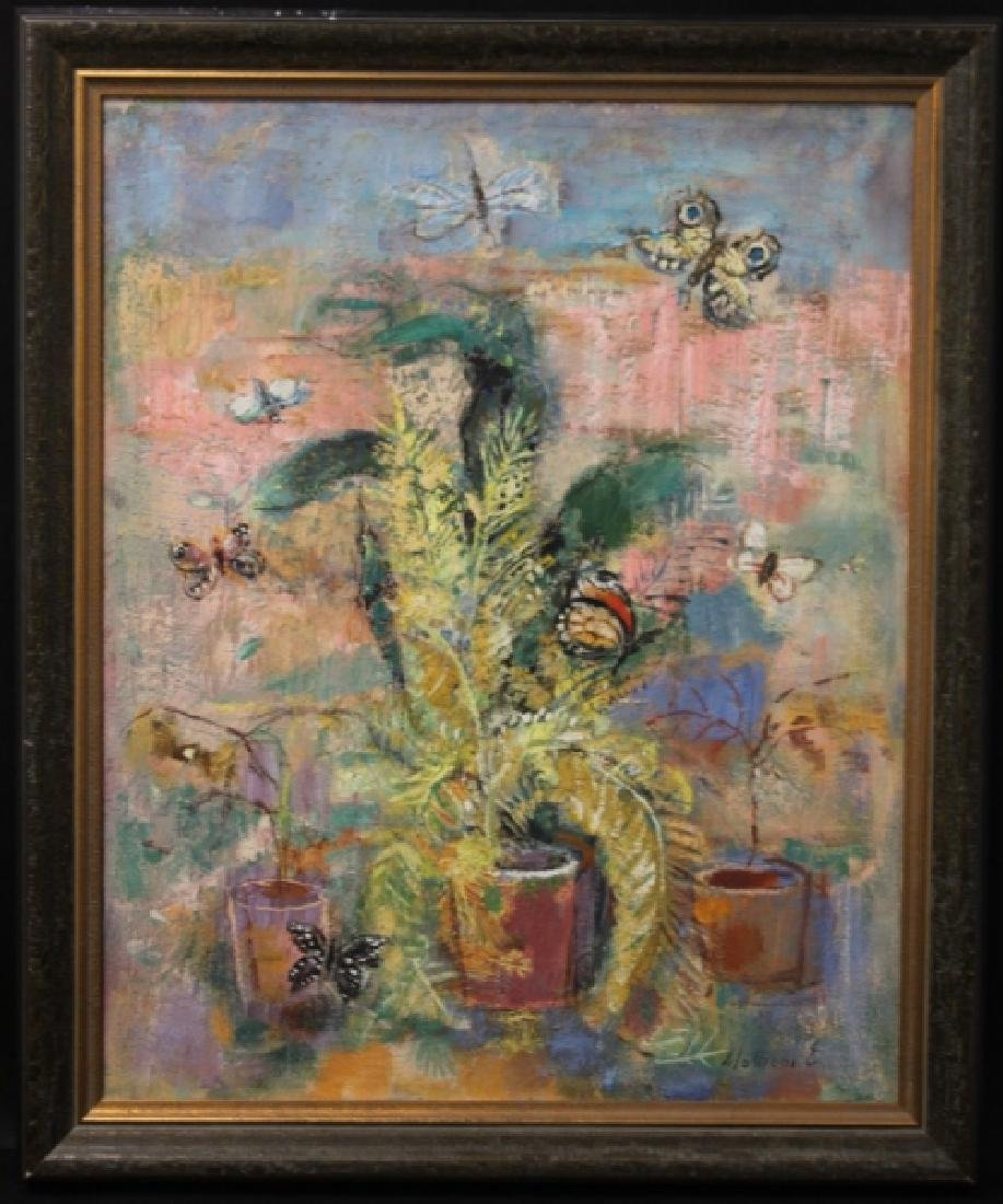 "E Mationi Hungarian, Oil on Board ""Butterflies"" - 3"