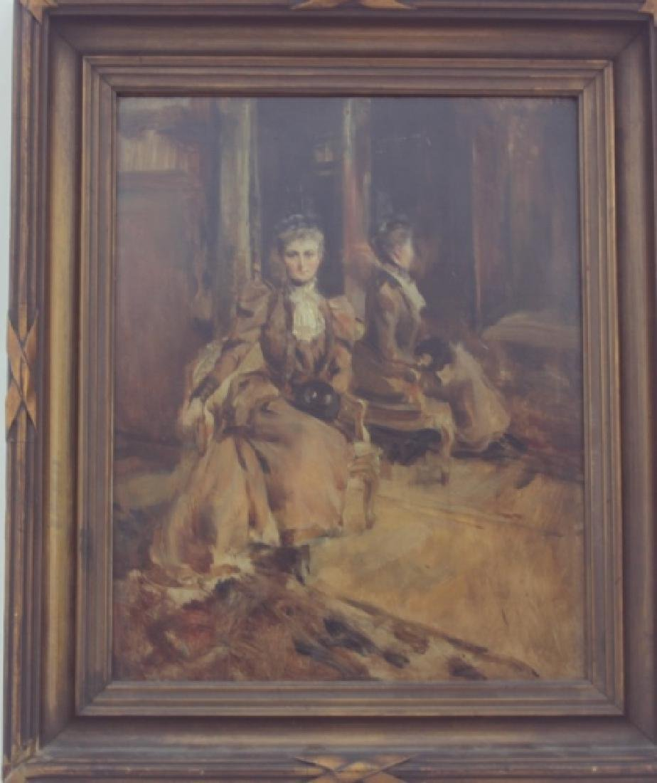 19C English Victorian Oil Painting of a Woman