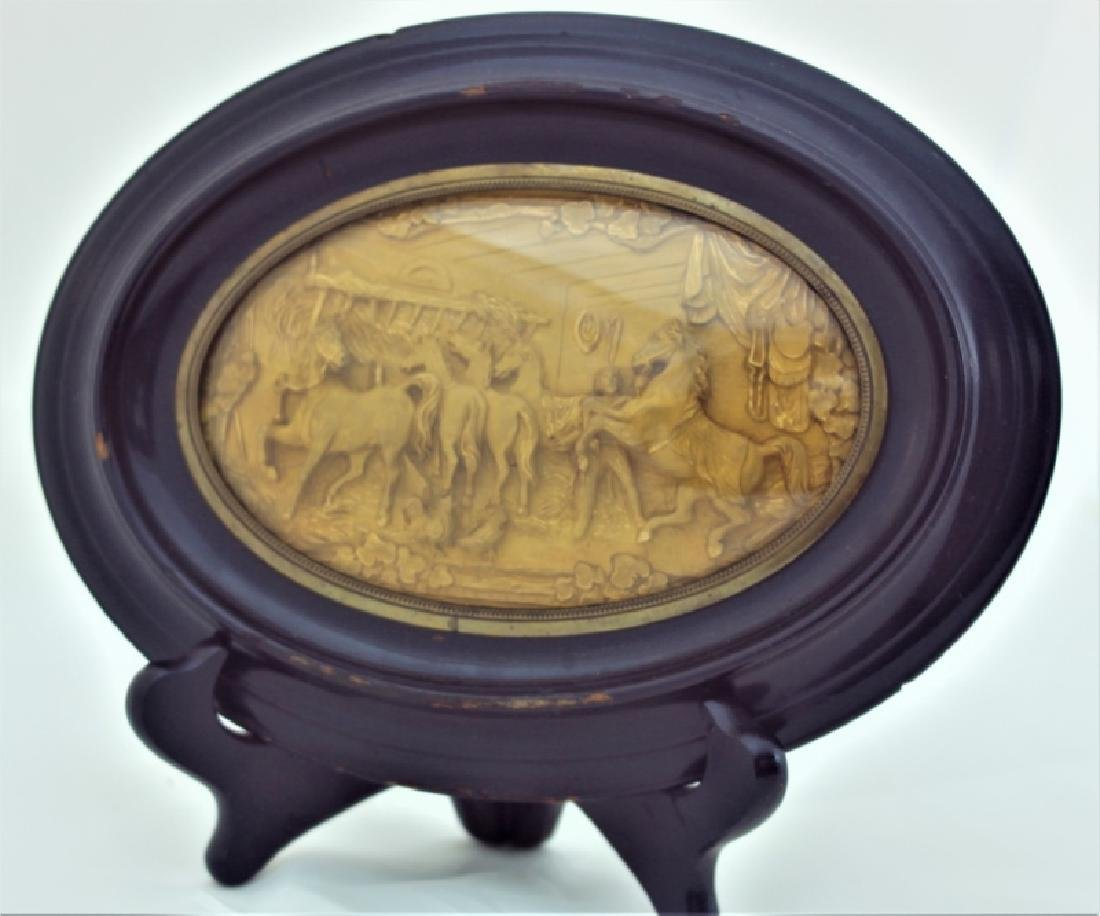 19C Gold Repousse Plaque w Horses in a Stable - 2