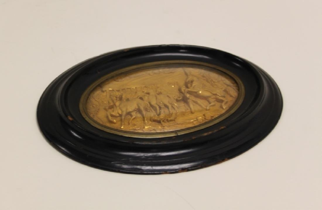19C Gold Repousse Plaque w Horses in a Stable - 3