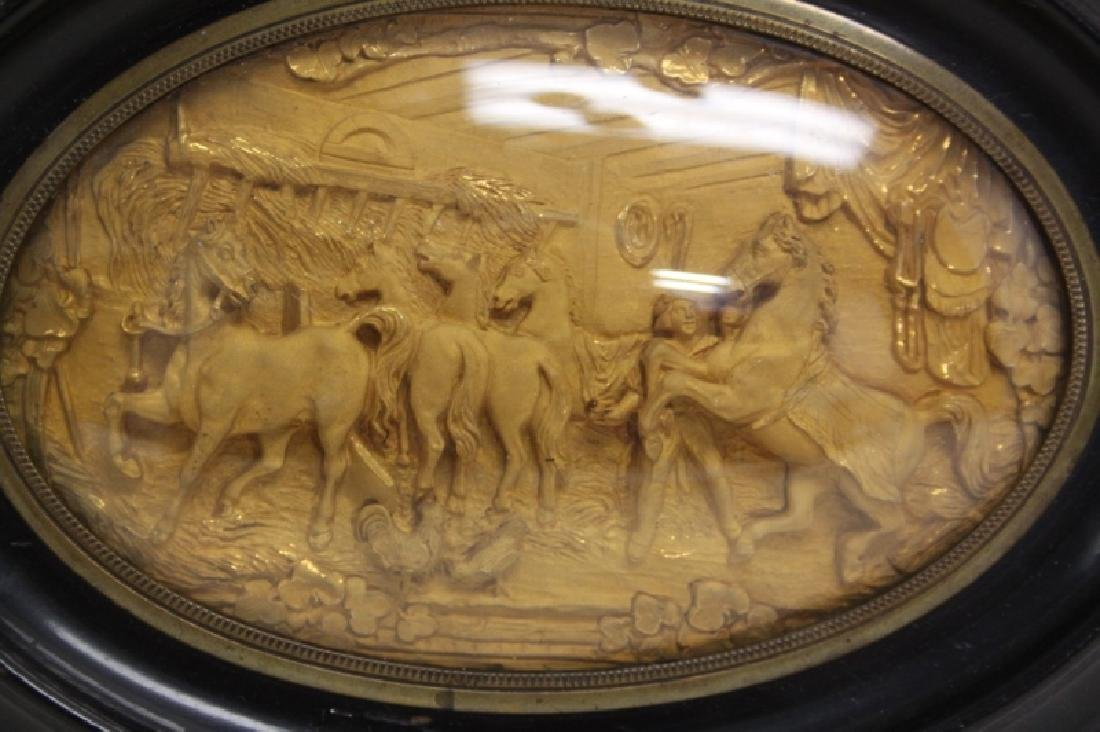 19C Gold Repousse Plaque w Horses in a Stable - 4