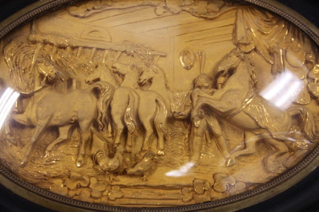 19C Gold Repousse Plaque w Horses in a Stable - 5
