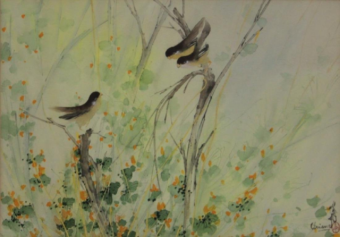 Chien Fei Chiang 1931-2011 Watercolor w Finches