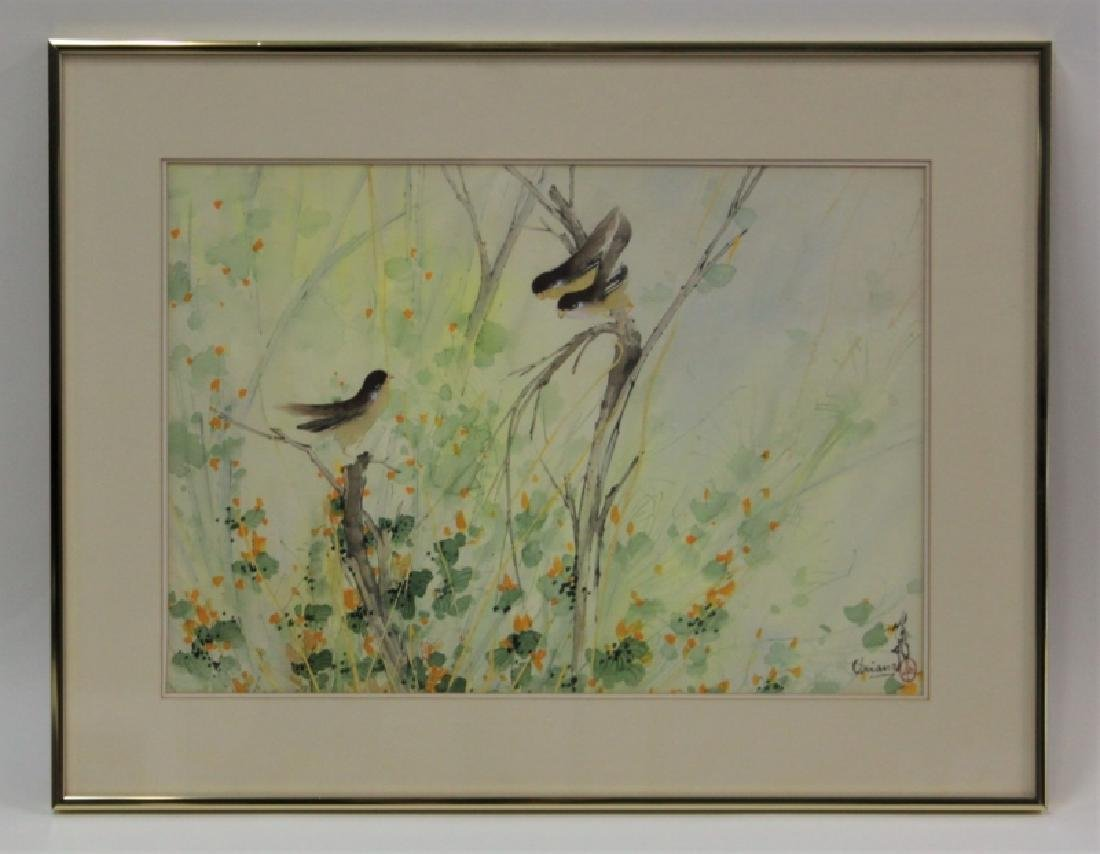 Chien Fei Chiang 1931-2011 Watercolor w Finches - 2