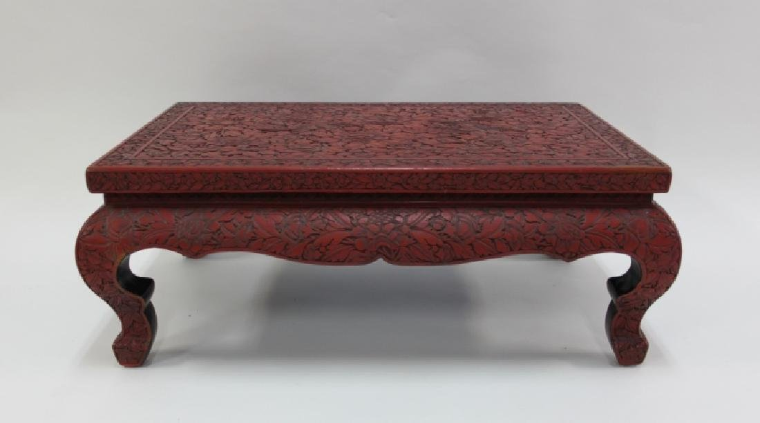 Antique Chinese Carved Red Cinnabar Low Tea Table