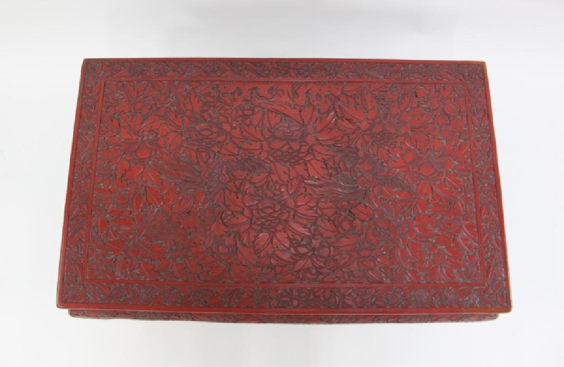 Antique Chinese Carved Red Cinnabar Low Tea Table - 3