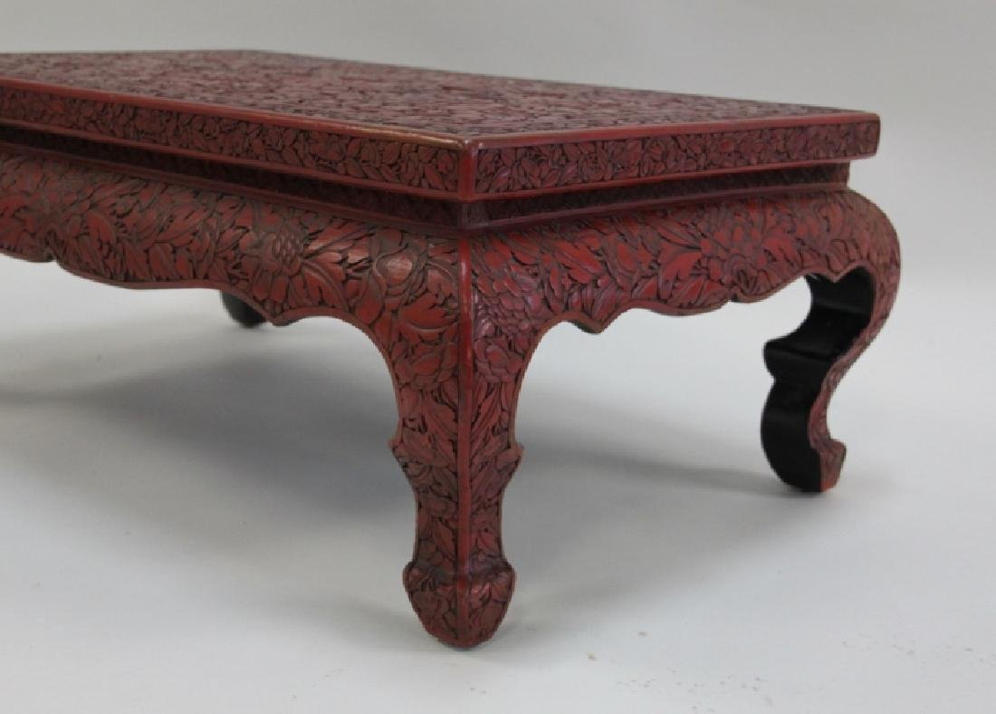 Antique Chinese Carved Red Cinnabar Low Tea Table - 7