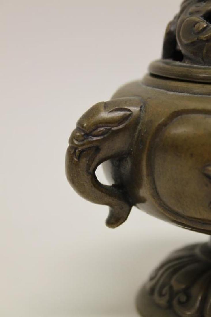 Antique Oriental Censer w Lion & Elephant Handles - 5