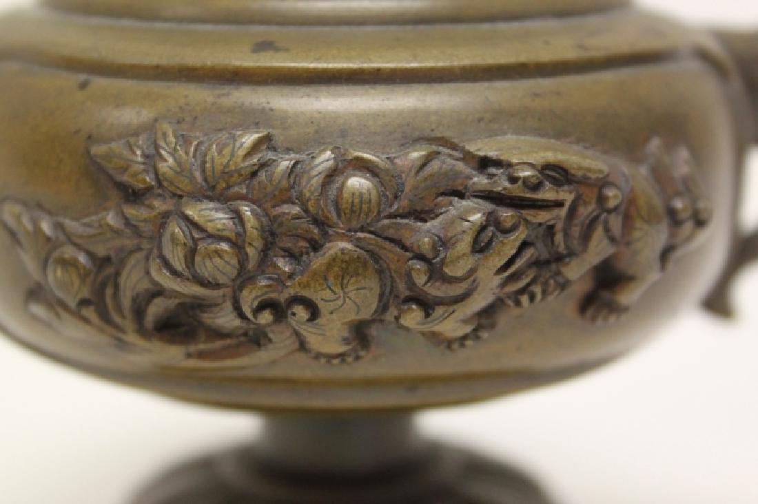 Antique Oriental Censer w Lion & Elephant Handles - 6