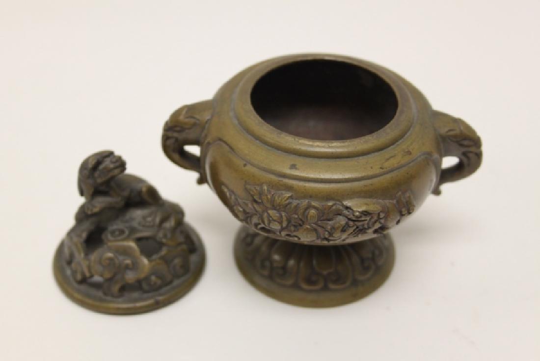 Antique Oriental Censer w Lion & Elephant Handles - 7