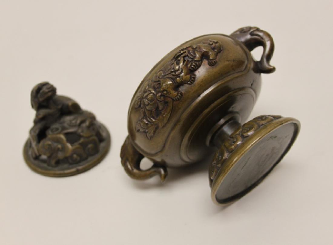 Antique Oriental Censer w Lion & Elephant Handles - 8