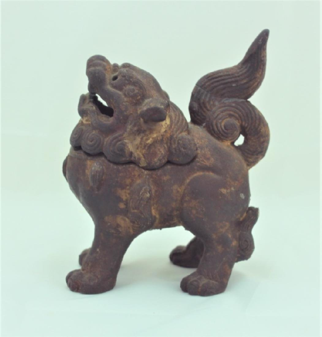 Archaic Form Chinese Cast Iron Shishi Lion Censer