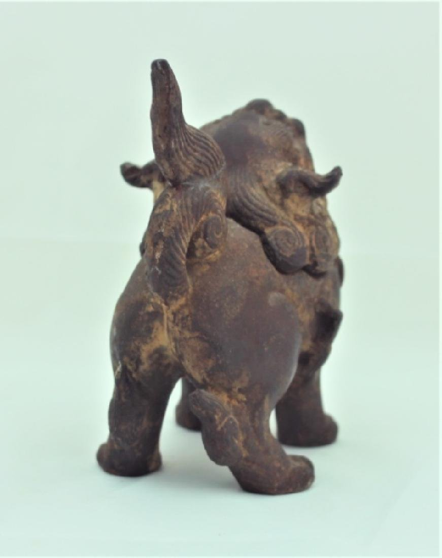 Archaic Form Chinese Cast Iron Shishi Lion Censer - 3
