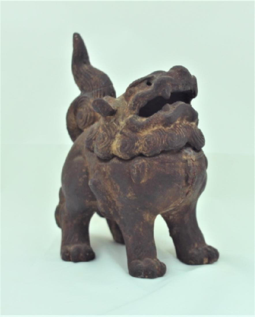 Archaic Form Chinese Cast Iron Shishi Lion Censer - 4