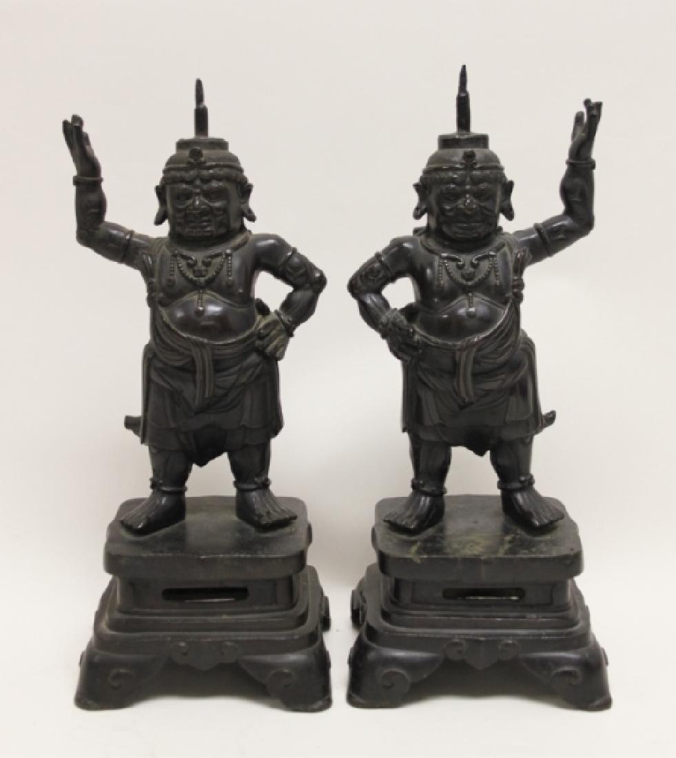 Pair 19C Chinese Bronze Buddhist Guardian Figures