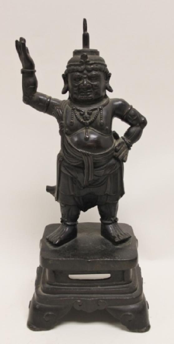 Pair 19C Chinese Bronze Buddhist Guardian Figures - 2