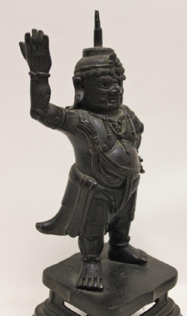 Pair 19C Chinese Bronze Buddhist Guardian Figures - 3