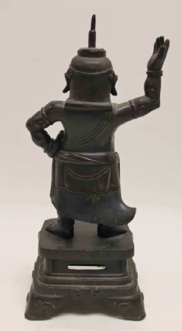 Pair 19C Chinese Bronze Buddhist Guardian Figures - 4