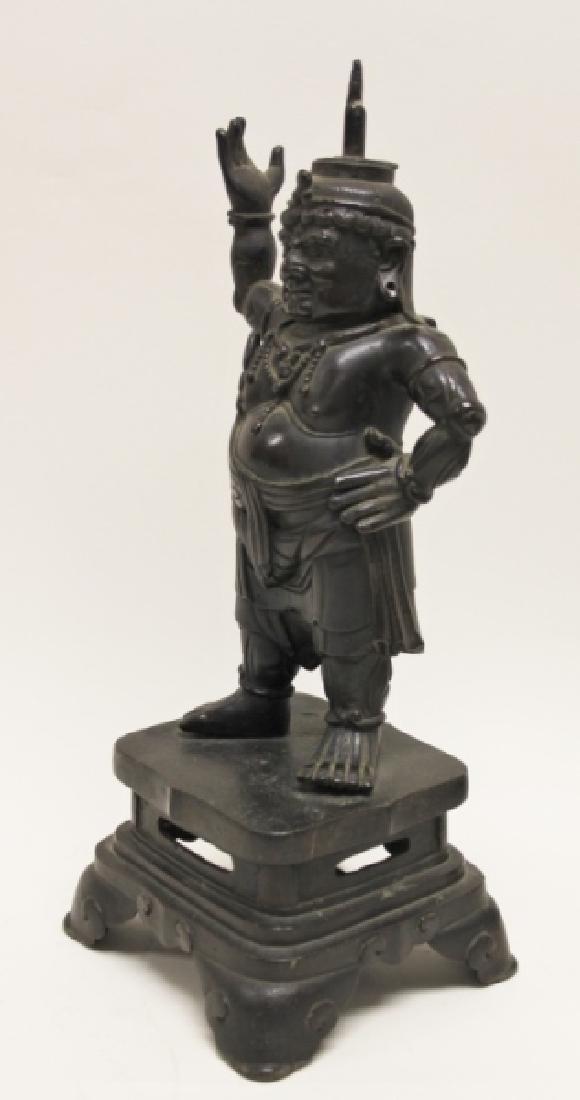 Pair 19C Chinese Bronze Buddhist Guardian Figures - 5