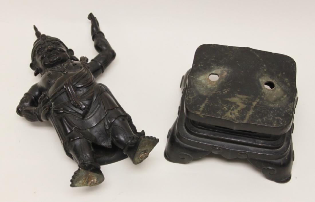 Pair 19C Chinese Bronze Buddhist Guardian Figures - 6
