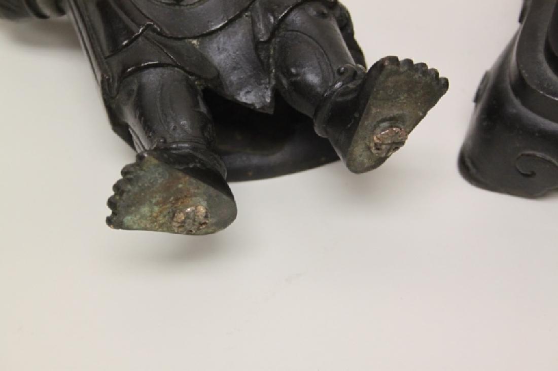 Pair 19C Chinese Bronze Buddhist Guardian Figures - 7