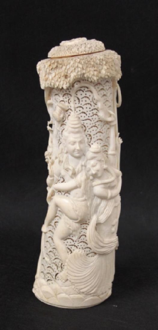 19thC India Shiva & Parvati Hindu Potpourri Vessel