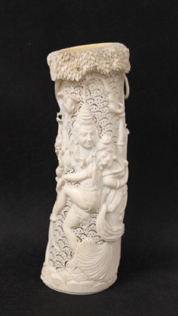 19thC India Shiva & Parvati Hindu Potpourri Vessel - 4