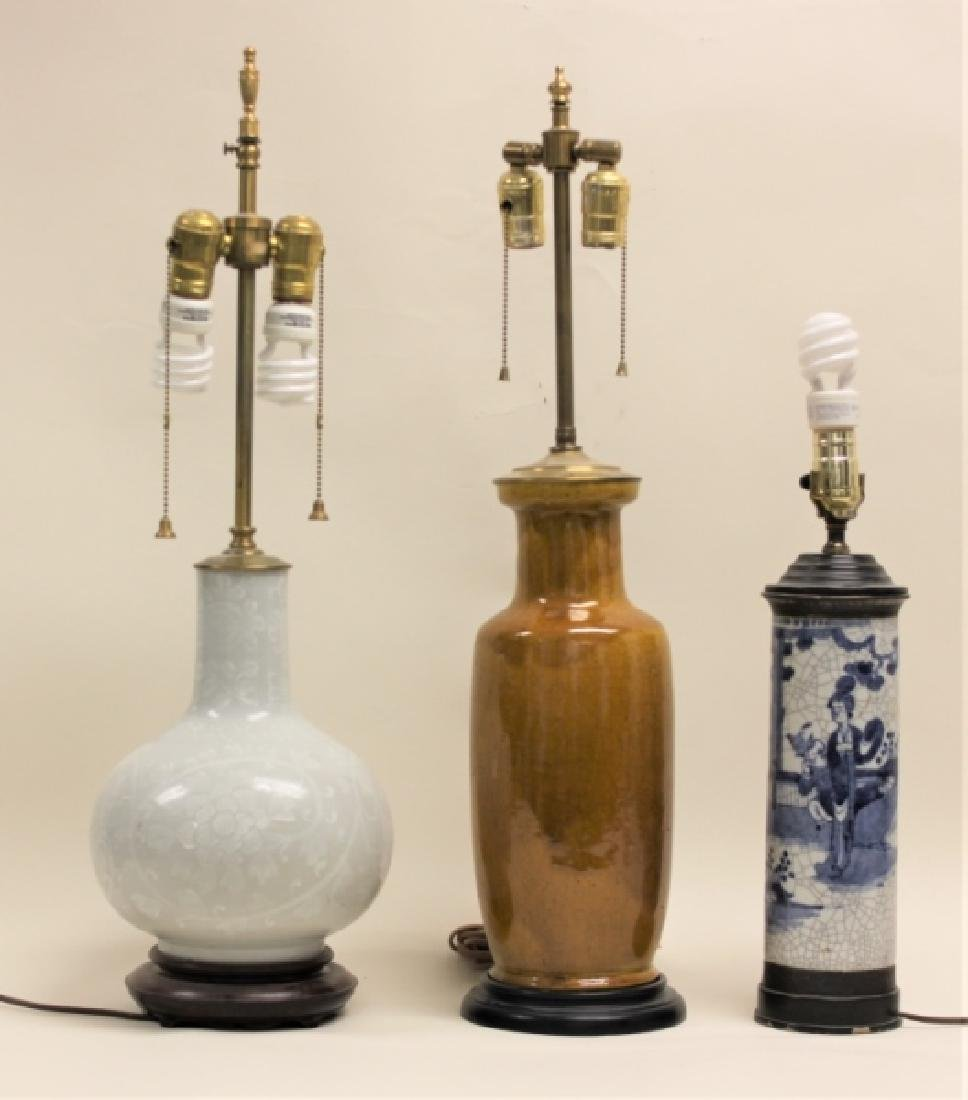 (3) Vintage Chinese Vases Mounted as Table Lamps