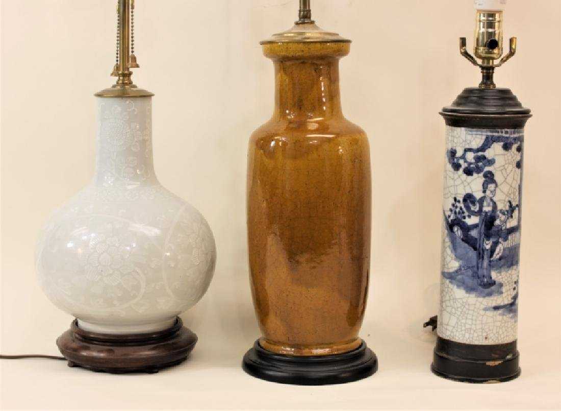 (3) Vintage Chinese Vases Mounted as Table Lamps - 2