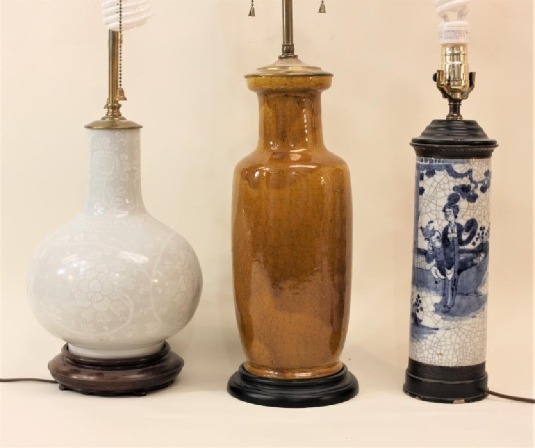 (3) Vintage Chinese Vases Mounted as Table Lamps - 3