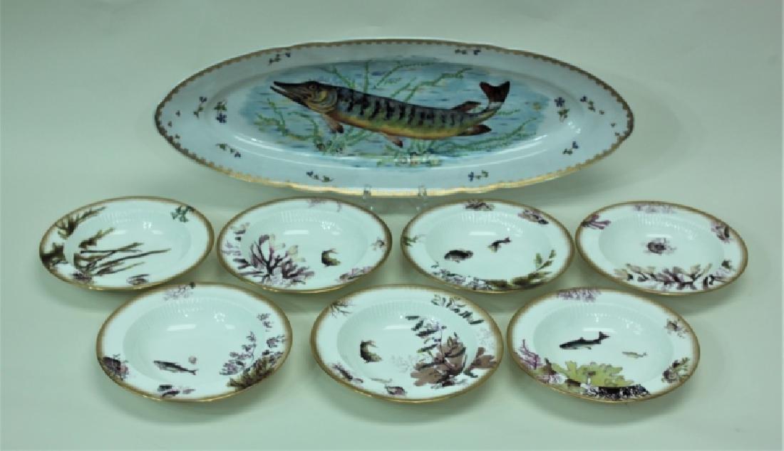 JE Caldwell Limoges Porcelain Fish Bowls & Platter
