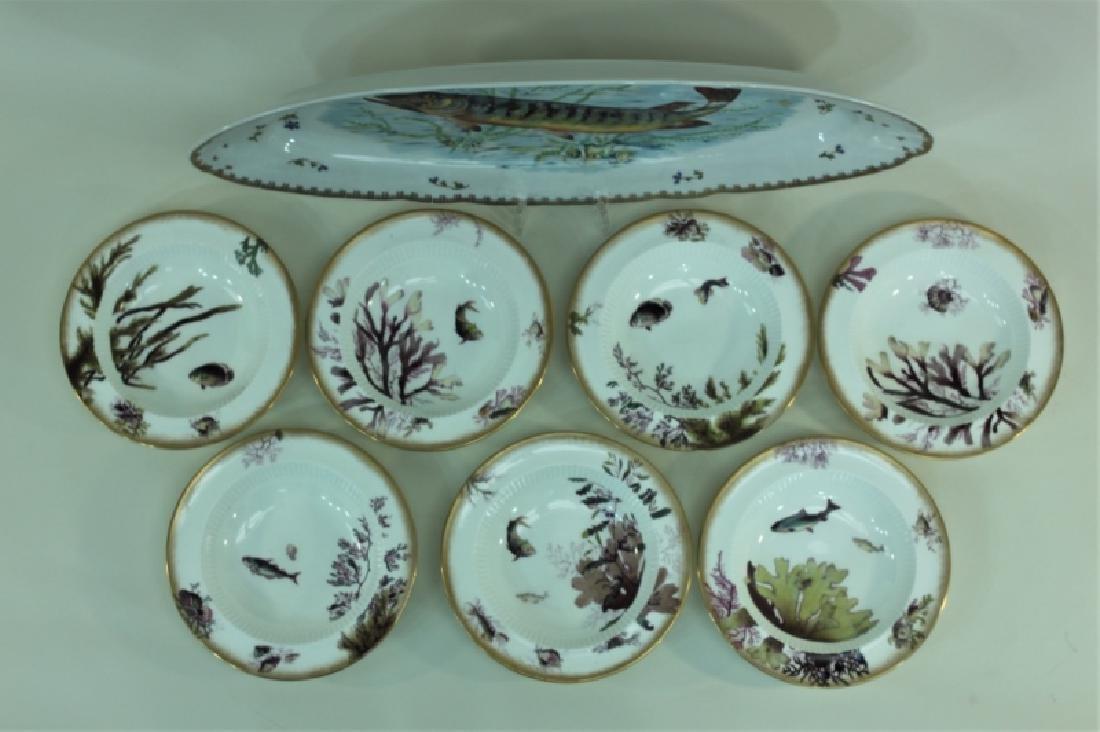 JE Caldwell Limoges Porcelain Fish Bowls & Platter - 2