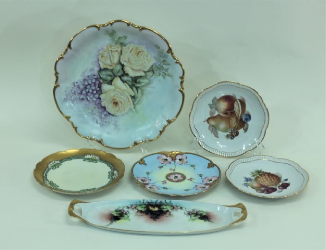 (6) Dresden Painted Porcelain Fruit & Cake Plates