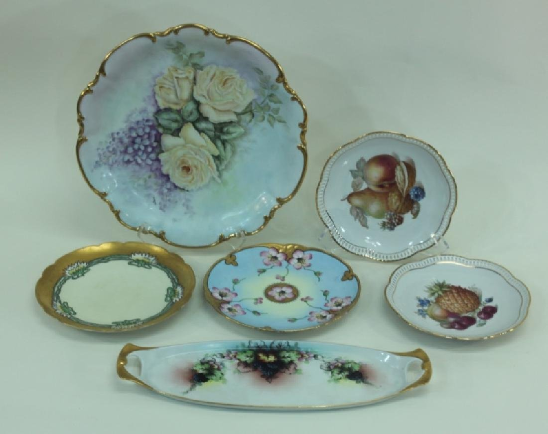 (6) Dresden Painted Porcelain Fruit & Cake Plates - 2