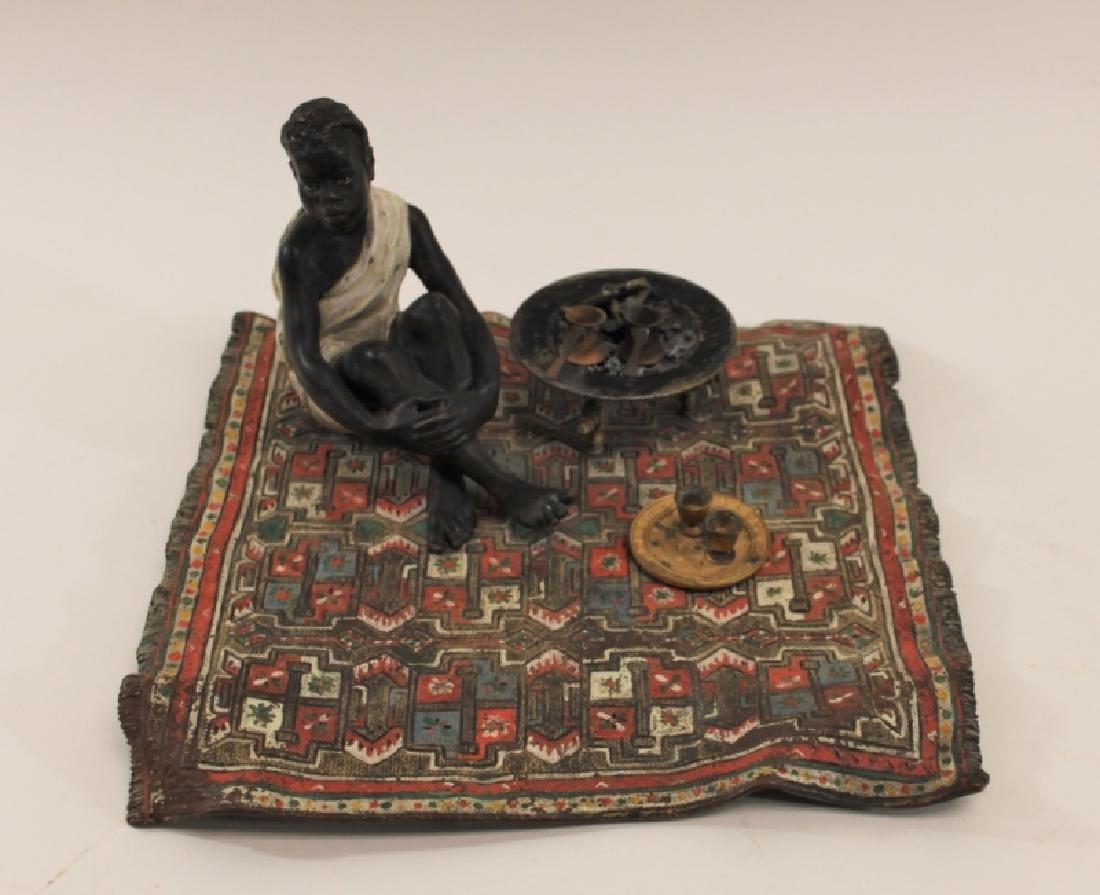 Franz Bergman Orientalist Bronze Nubian on Carpet