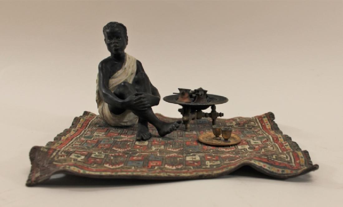 Franz Bergman Orientalist Bronze Nubian on Carpet - 2