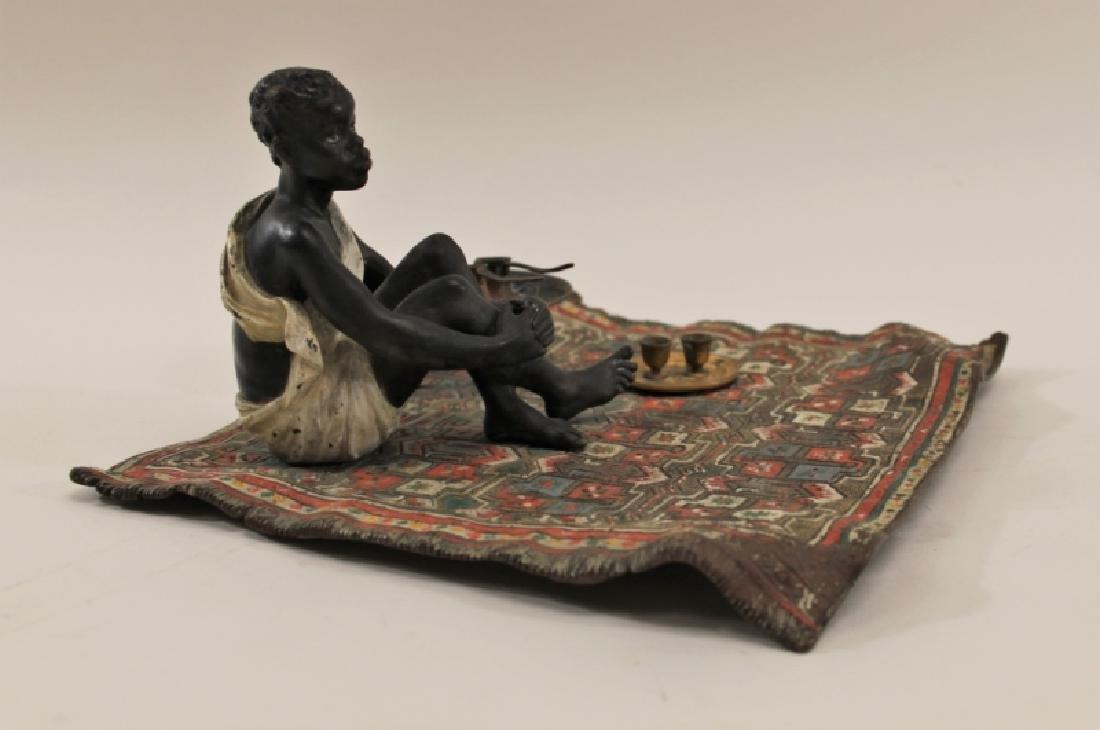 Franz Bergman Orientalist Bronze Nubian on Carpet - 3