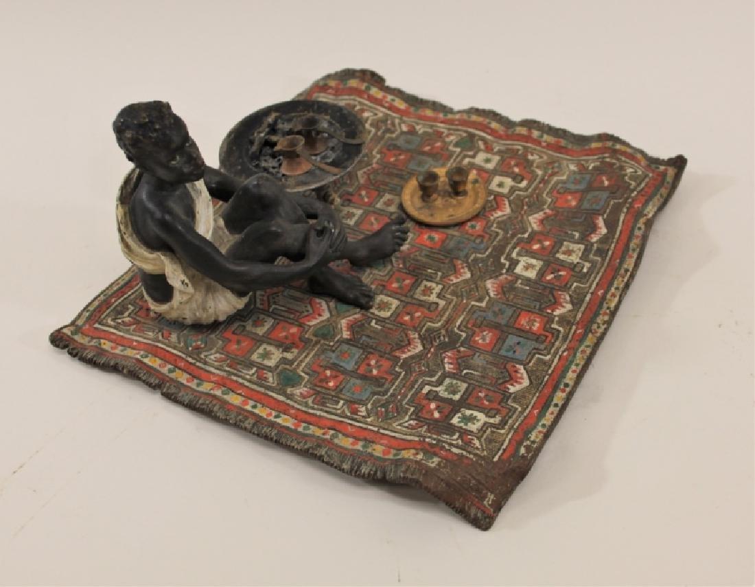 Franz Bergman Orientalist Bronze Nubian on Carpet - 4