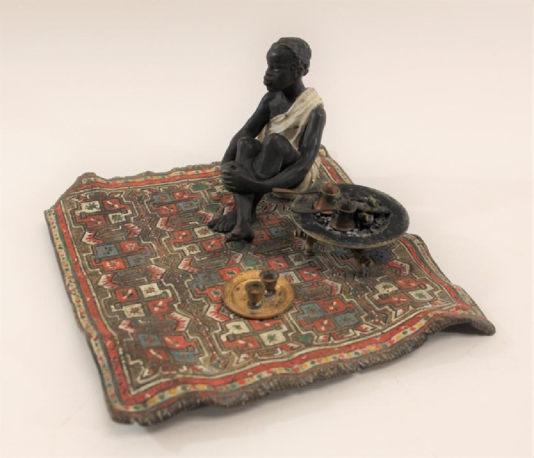 Franz Bergman Orientalist Bronze Nubian on Carpet - 5
