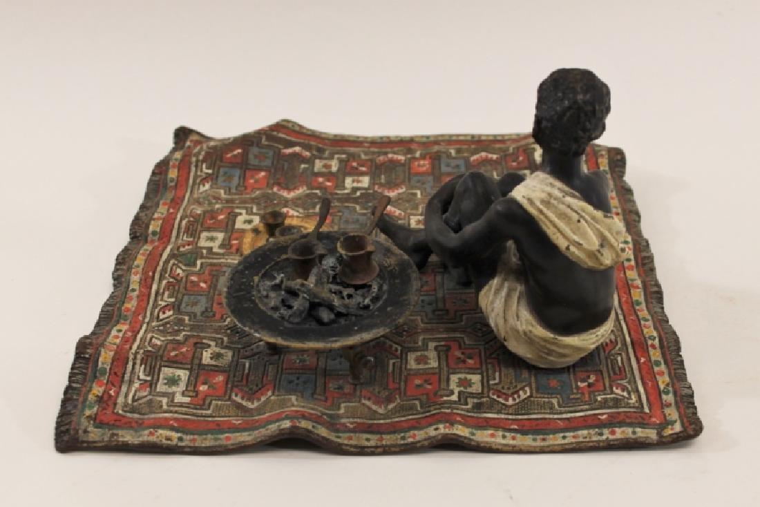 Franz Bergman Orientalist Bronze Nubian on Carpet - 6