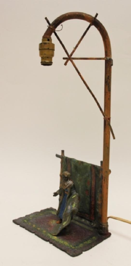 Vienna Orientalist Sculptural Lamp w Carpet Seller - 2