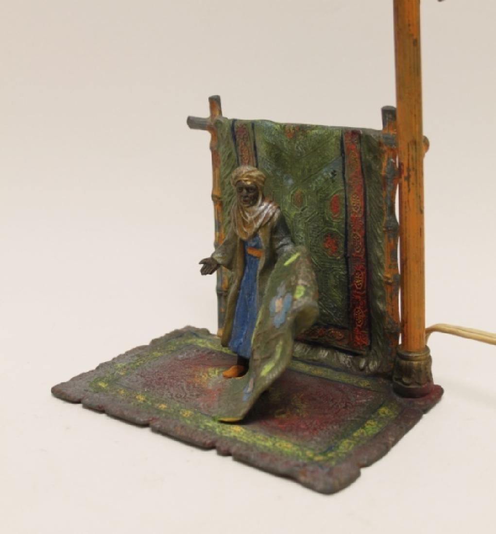 Vienna Orientalist Sculptural Lamp w Carpet Seller - 3