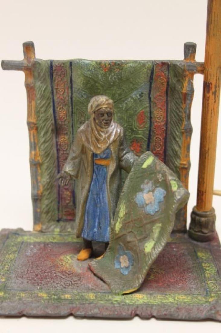 Vienna Orientalist Sculptural Lamp w Carpet Seller - 4