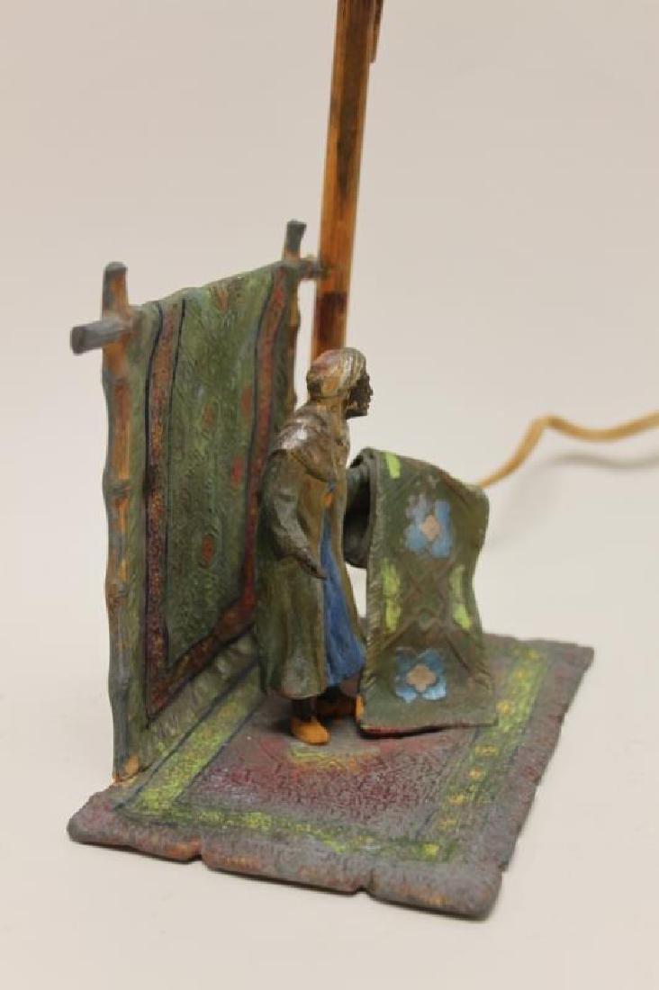 Vienna Orientalist Sculptural Lamp w Carpet Seller - 5