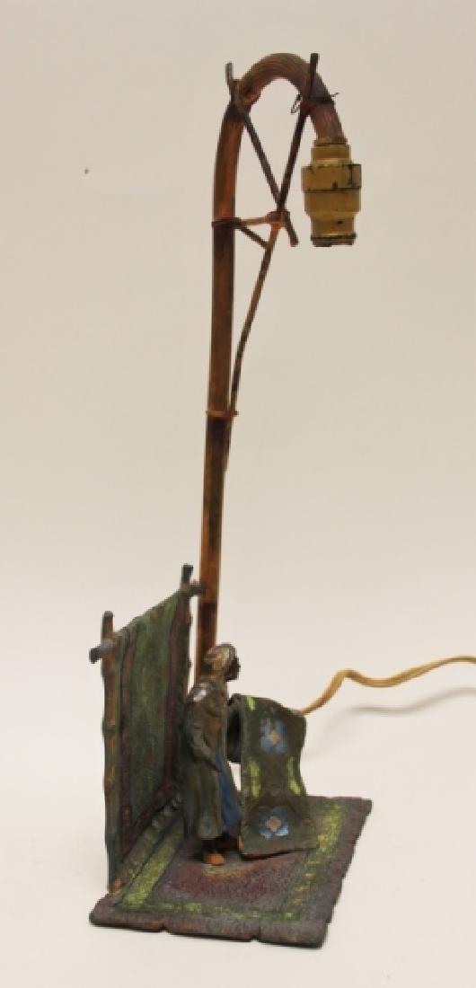 Vienna Orientalist Sculptural Lamp w Carpet Seller - 8