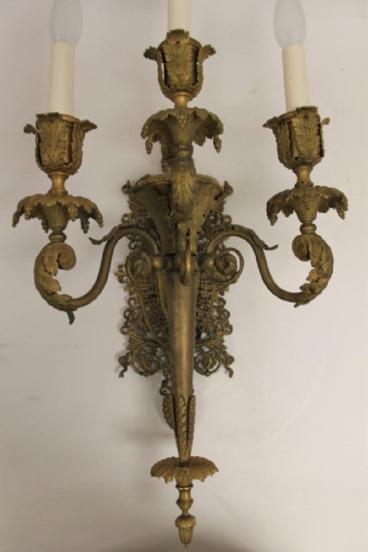2-19C French Empire Bronze Gasolier Wall Sconces - 3