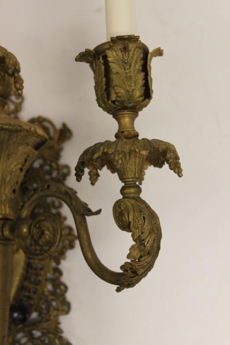 2-19C French Empire Bronze Gasolier Wall Sconces - 6