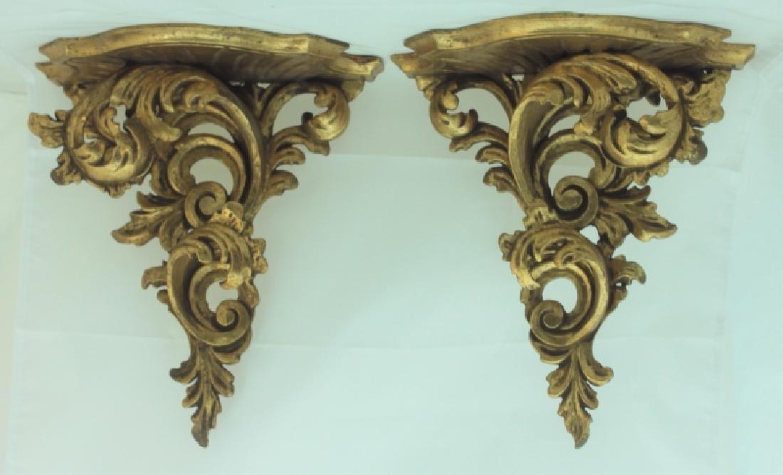 Pair Italian Gilt Wood Rococo Wall Bracket Shelves