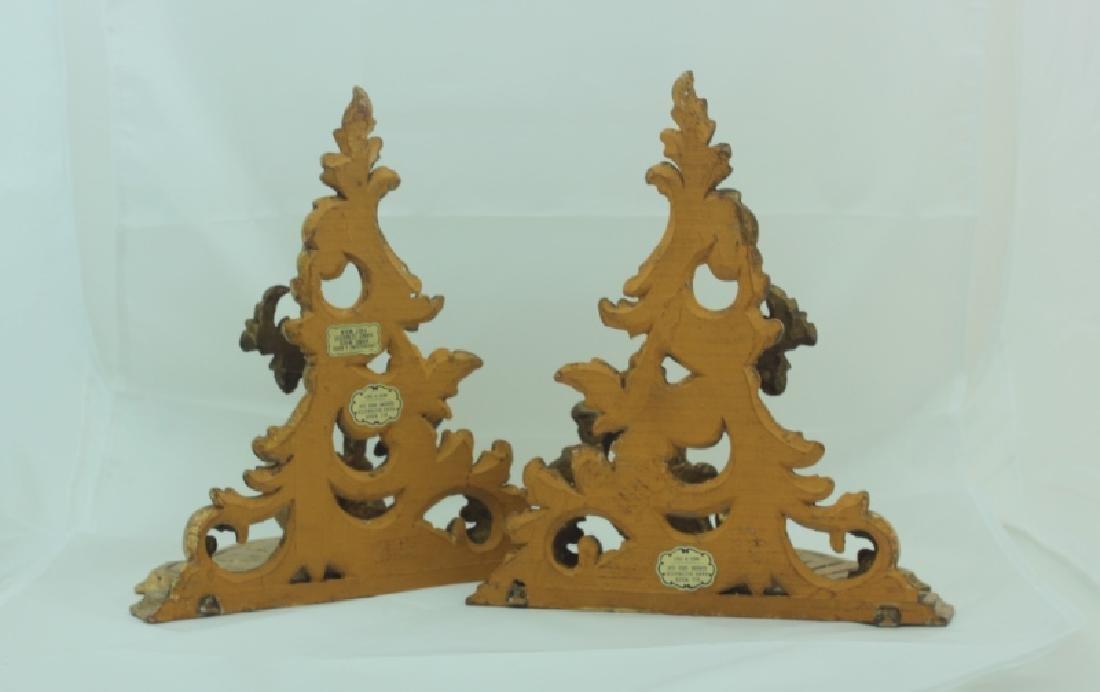 Pair Italian Gilt Wood Rococo Wall Bracket Shelves - 7